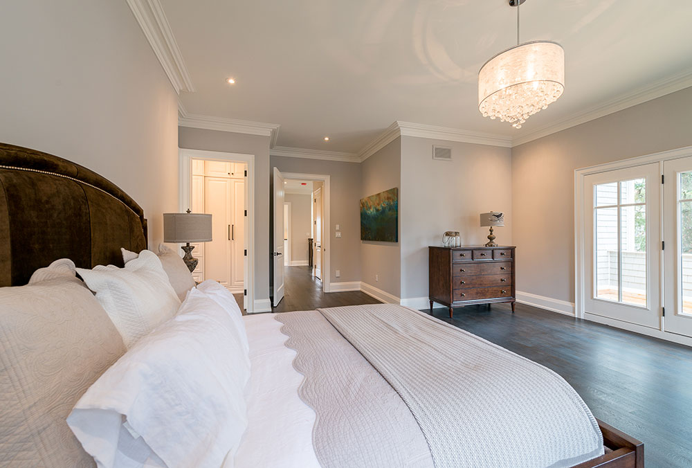 bedroom in a new custom home on Lakeshore in Burlington