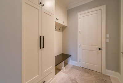 mudroom in new home construction lakeshore rd Burlington Oakville